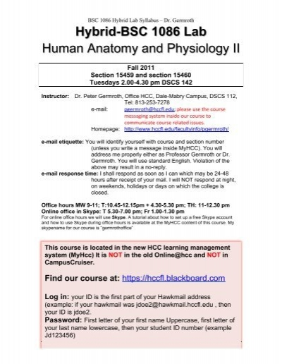 Hybrid-BSC 1086 Lab Human Anatomy and Physiology II