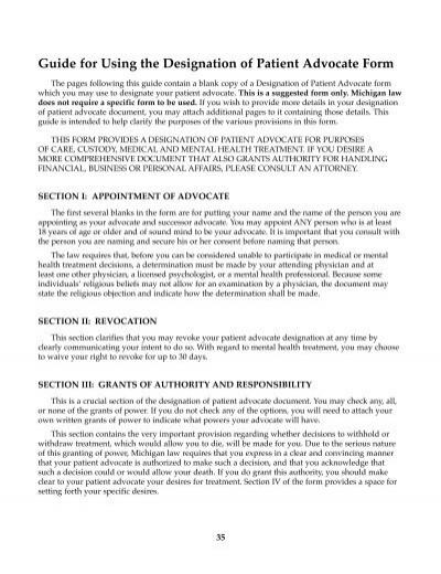 Advance Directive Patient Advocate Form - Pennock Health Services