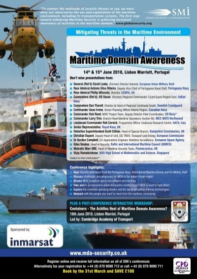 maritime domain awareness Research projects in maritime domain awareness (mda) nearshore and harbor surveillance.