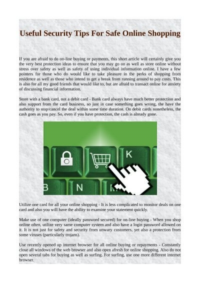 Useful Security Tips For Safe Online Shopping