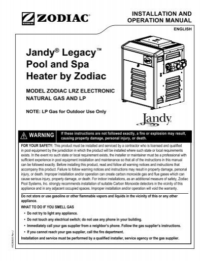 jandy lrz pool heater manual