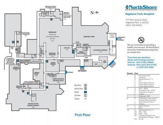 Highland Park Hospital Floor Plan Map - NorthShore
