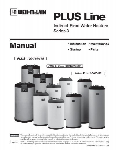 Indirect Fired Water Heater Manual - Weil-McLain