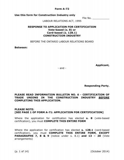 Response to Application for Certification, Construction Industry