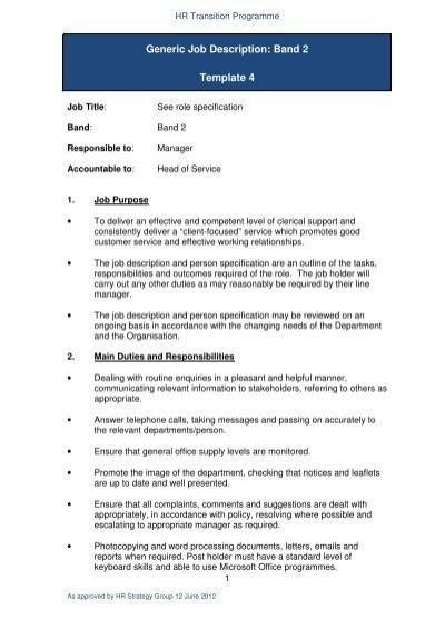 Generic Job Description Band 2 Template 4