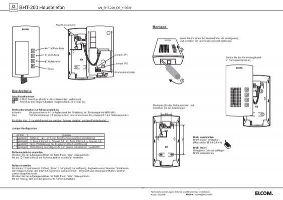 BHT-200 Haustelefon - Elcom
