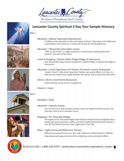 lancaster county spiritual day tour sample itinerary
