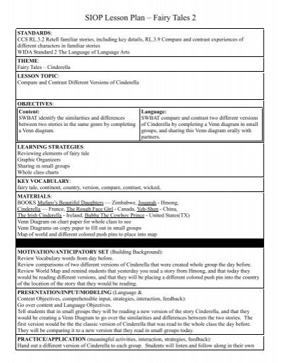 Siop Lesson Plan Fairy Tales 2 Washoe County School District