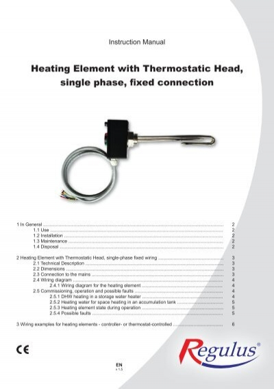 heating element thermostatic head single ambient instal
