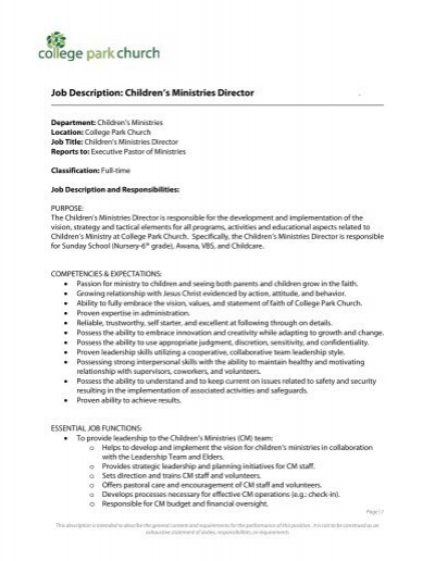 Job Description: Children'S Ministries Director . - College Park