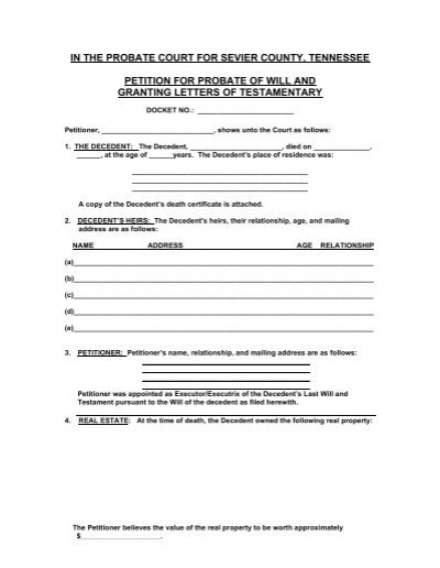 Petition For Probate Of Will Sevier County