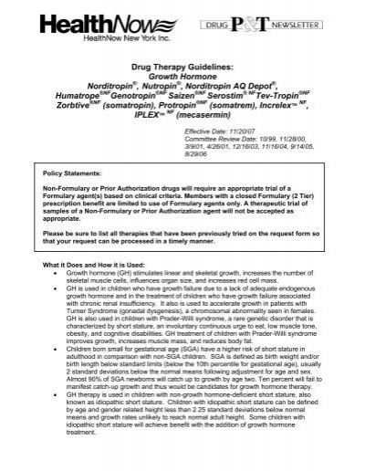 Drug Therapy Guidelines: Growth Hormone Norditropin
