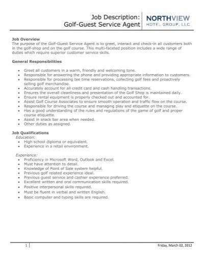 Job Description Golf Guest Service Agent Eagle Crest Resort