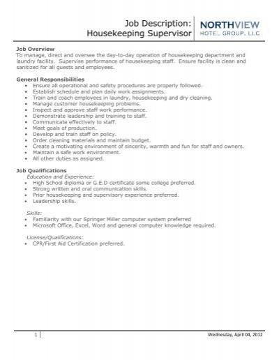job description housekeeping supervisor eagle crest resort - Housekeeping Responsibilities