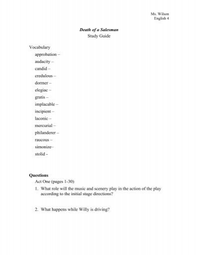 death of a salesman stage directions