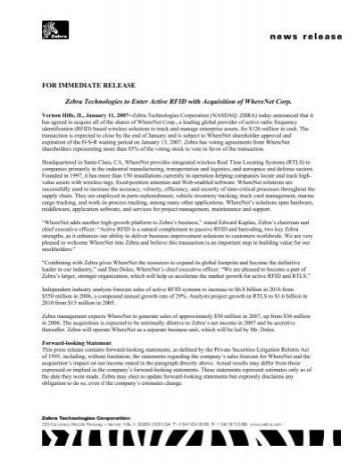FOR IMMEDIATE RELEASE Zebra Technologies to Enter Active