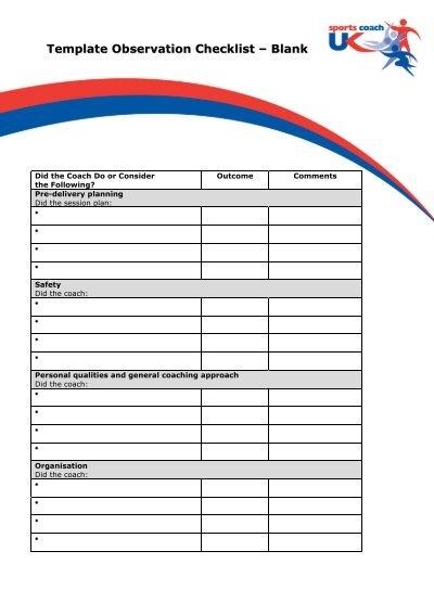 checklist blank template