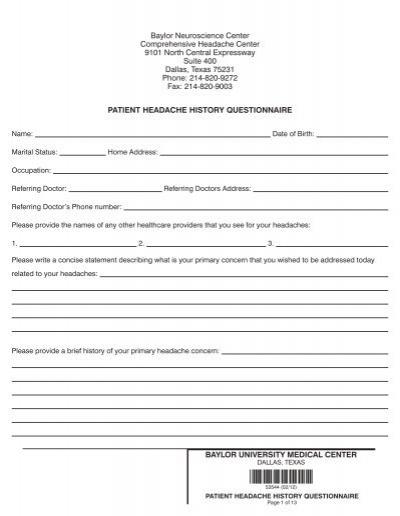 patient headache history questionnaire