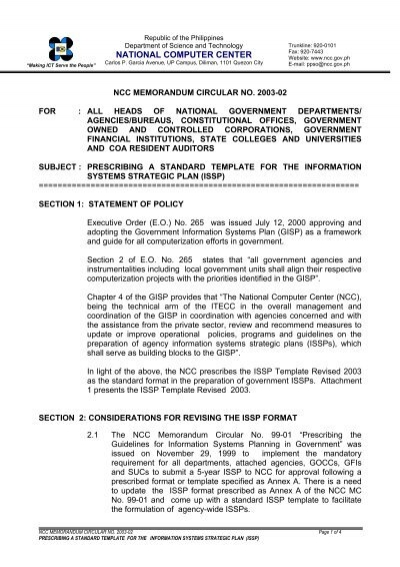 Ncc memorandum circular no 2003 02 for national for Issp template