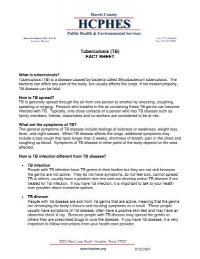 TB) FACT SHEET - Harris County Public Health and