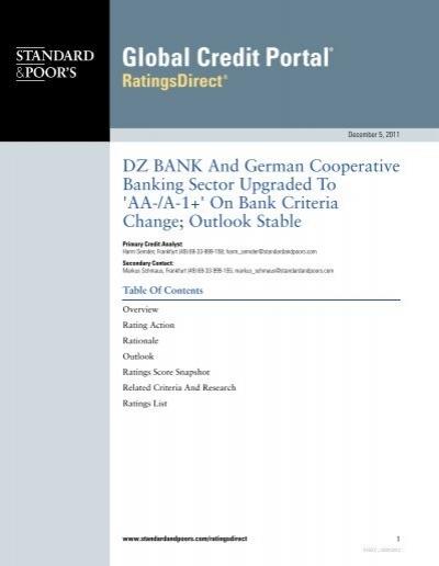 Dz Bank And German Cooperative Banking Bei Der Dz Bank