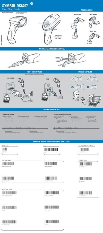 Symbol Ds6707 Quick Start Guide Barcode Scanners
