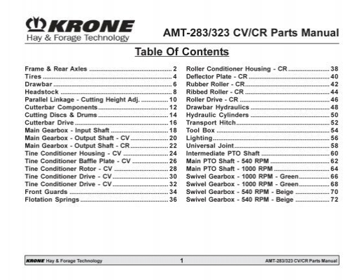 krone 283 disc mower manual