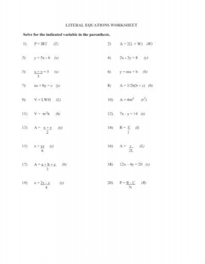 Printables Literal Equations Worksheet literal equations worksheet solve for the indicated indicated