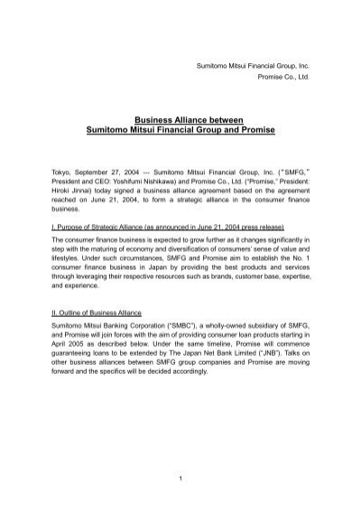 Business Alliance Between Sumitomo Mitsui Financial Group And