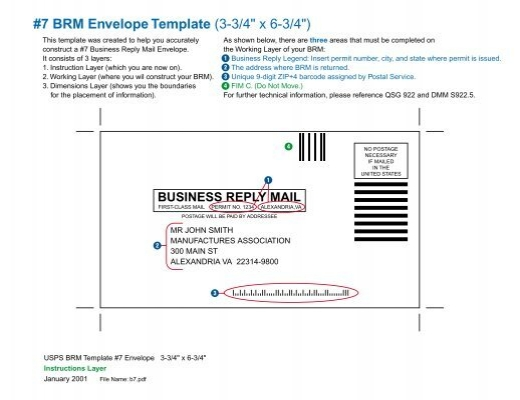 BRM Envelope Template X - Business reply envelope template