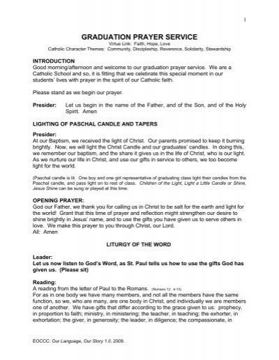 GRADUATION PRAYER SERVICE - Our Language, Our Story