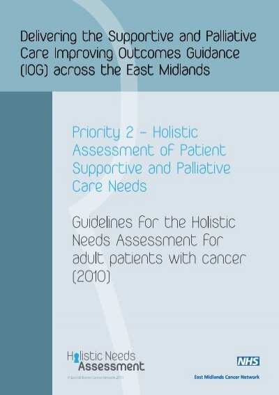 Holistic Needs Assessment Template East Midlands Cancer Network – Network Assessment Template