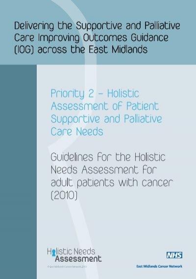 Holistic Needs Assessment Template East Midlands Cancer Network – Network Assessment Template