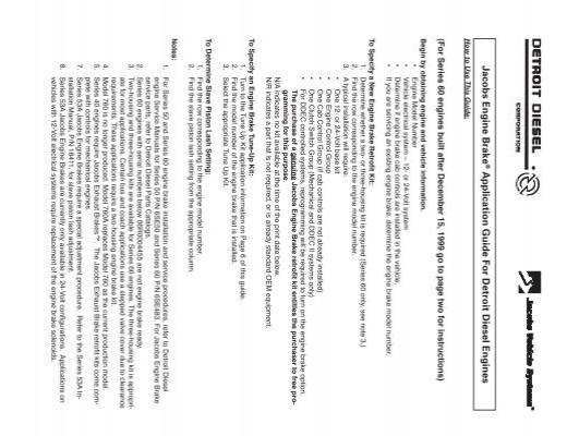 Jacobs Engine Brake Application Guide For Detroit Diesel