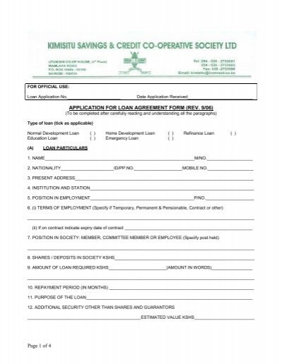 C de of payment i of 4 application for loan agreement kimisitu sacco thecheapjerseys Images