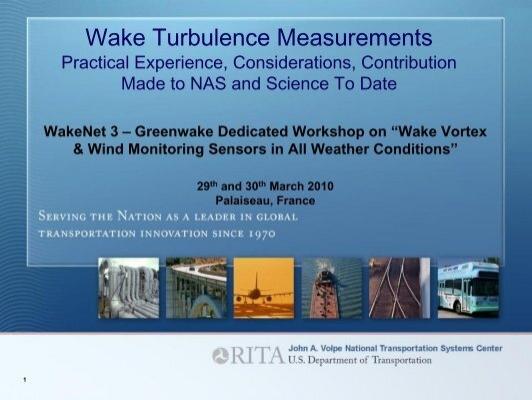 Wake Turbulence Measurements  U00e2 U20ac U201c Practical Experience