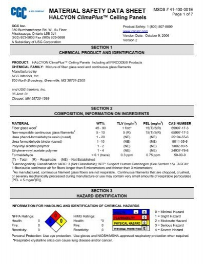 Material Safety Data Sheet Kenroc Building Materials