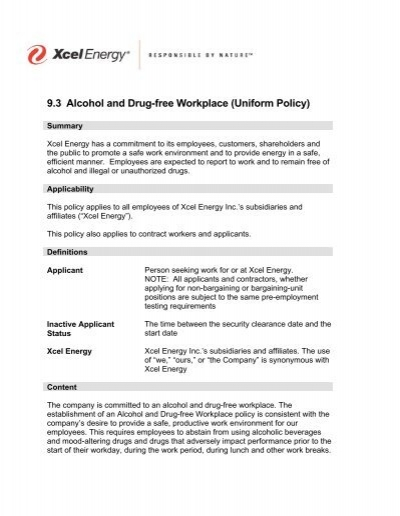 Sample Drug Free Workplace Policy - Wyoming Department of ...