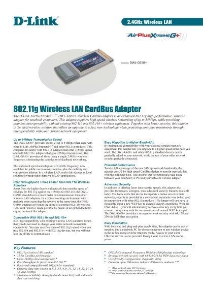 80211g Wireless LAN CardBus Adapter