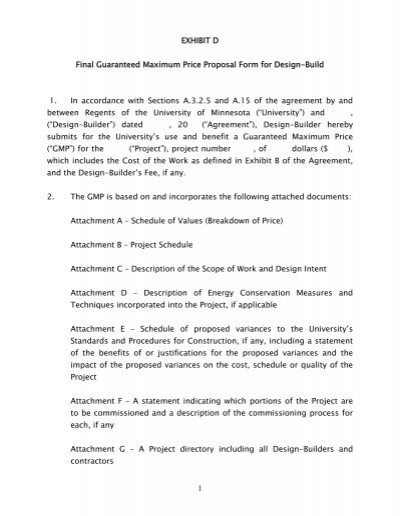 AIA A141 - Exhibit D GMP Proposal Form - Capital Planning and