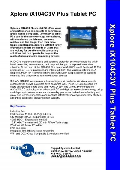 Xplore iX104C3V Plus Tablet PC - Rugged Systems