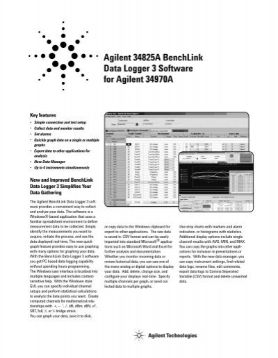 Agilent Data Logger : Agilent a benchlink data logger software for