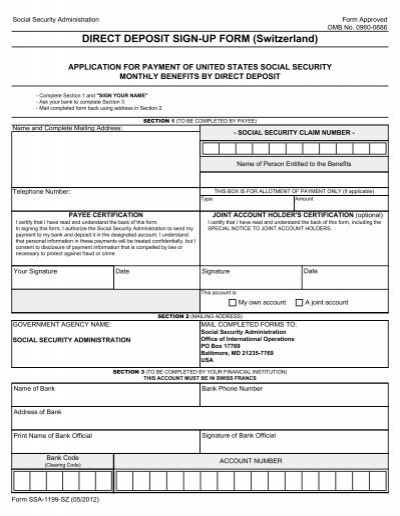 Social Security Direct Deposit Form Chase Direct Deposit Form