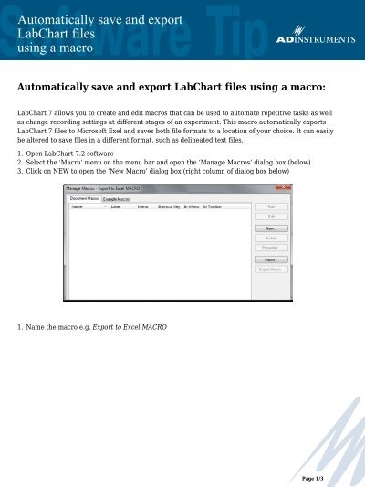 Automatically save and export LabChart files using
