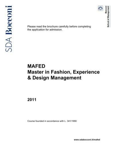 Mafed Master In Fashion Experience Design Sda Bocconi
