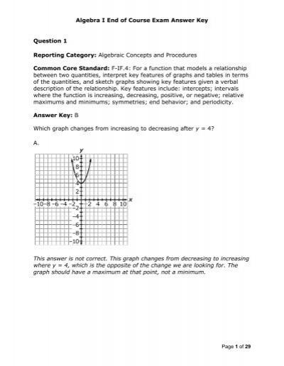 Algebra I End of Course Exam Answer Key Question 1     - HSA