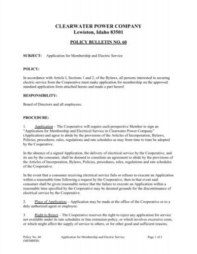 Application for Membership and Electric Service - Clearwater