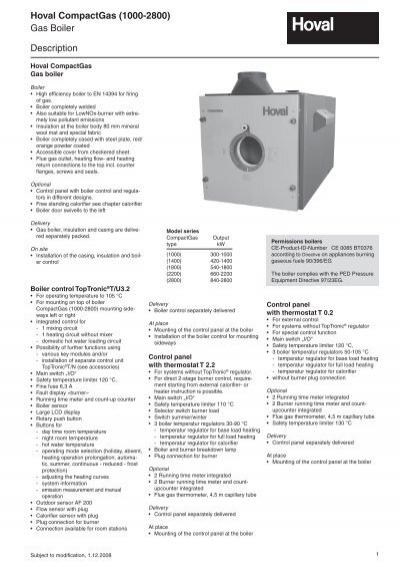 Hoval CompactGas (1000-2800) Gas Boiler Description