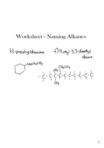 Worksheet Naming Alkanes