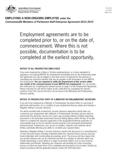 Form 106 Employing A Non Ongoing Employee Ministerial And